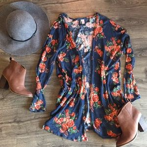 H&M floral open cardigan/duster ~ Size Large